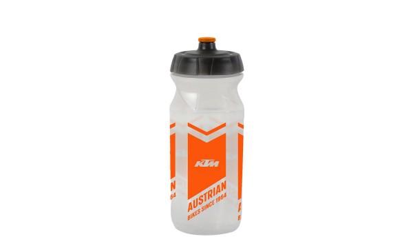 KTM Trinkfl. TEAM transparent Logo oranger Druck